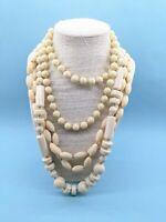 3 x Vintage 1950s Long Cream Lucite Plastic Bead Necklaces Flapper Rockabilly