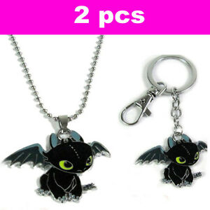 2pcs How To Train Your Dragon Toothless Night Fury Keychain Ring Necklace Set