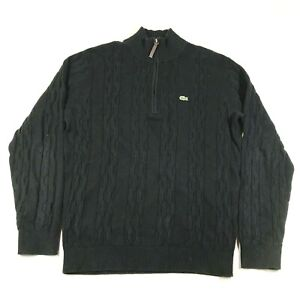Lacoste 1/4 Zip Pullover Sweater Jumper Mens 5 Black Wool Blend Cable Knit