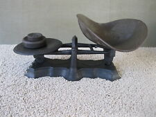 Antique Balance Scale STUART & PETERSON Cast Iron Tin Tray 2 Weights, Phila PA