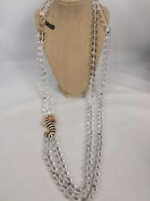 2 Strand Gold Tone necklace Statement J.Crew Seahorse Enamel Clasp Glass