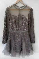 MANNING CARTELL Gorgeous grey long sleeve lace A Line Dress Sz 8 BNWT $799