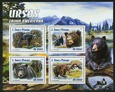 SAO TOME 2016 AMERICAN FAUNA BEARS  SHEET MINT NEVER HINGED