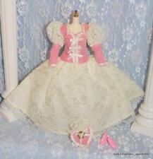 Barbie Doll Friends Ivory Mauve Pink Lace Victorian Fashion Gown Hat & Shoes