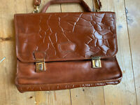 Collegetasche Aktentasche cross body bag braun Leder 60er vintage oldschool