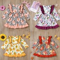 Janly Clearance Sale Baby Girl Dress Toddler Baby Girls Long Sleeve Ruffles Splice Floral Print Dress Clothes