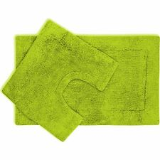 2 Piece Bath Mat and Pedestal Set with Non Slip Back - Lime