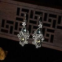 925 Sliver Pear Aquamarine Citrine Flower Drop Dangle Hooks Women Earrings