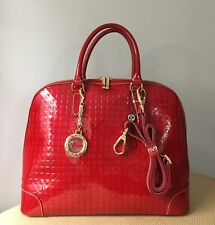 Authentic INVECE ARCADIA RED Patent Leather Handbag Satchel Purse Made in Italy