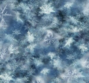 Hoffman Call of the Wild Ice Blue Snowflake Quilt Fabric By the HALF Yard