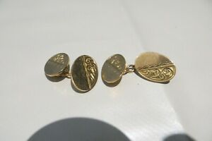 PAIR 9CT GOLD OVAL CUFFLINKS WITH ETCHED DECORATION WEAR SCRAP 8.7GS