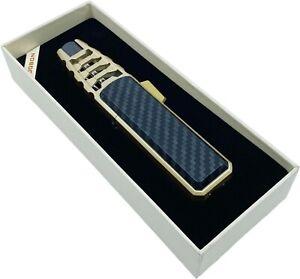 Jobon Single Flame Jet Windproof Cigar Cigarette Torch Refillable Lighter Gold