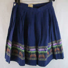 1950s Hand Sewn Skirt Pleated Navy Blue Embroidered Embroidery