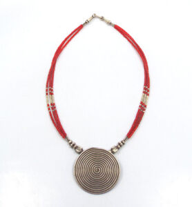 Vtg Artisan Tribal Silver & Red Coral Beads w/ Silver Spiral Pendant Necklace