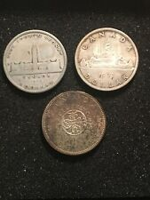 Canada 1939, 1963, 1964 Lot Of 3  Silver $1 Dollars