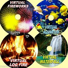 VIRTUAL WATERFALL, FIREWORKS, AQUARIUM, & LOG FIRE, 4 GREAT SOOTHING DVDs NEW