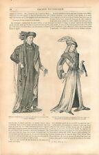 Costume Chevalier la Toison d'Or Philippe le Bon Grand Fauconnier GRAVURE 1849
