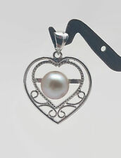 Silver Heart Shaped Cultured Pearl Pendant