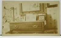 RPPC Interior View Bedroom Dresser Clock Pictures c1915 Postcard G15