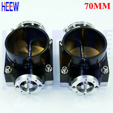 "Black Universal High Flow Aluminum Intake Manifold 70MM 2.75"" Throttle Body 2PCS"