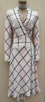 UK 10 Karen Millen Elegant Black White Check Midi Fit Flare Wrap Dress Occasion