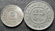 1916 Belgium 5 & 25 Centimes Coins - Great Condition