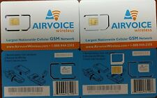 Airvoice Wireless SIM Card PREPAID. USE AT&T NETWORK and phone. Triple cut sim.