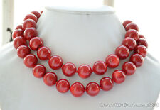 Z6456 AA++ Real 16mm round red coral bead necklace 34inch