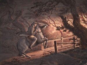 18th CENTURY SCOTTISH GEORGIAN WATERCOLOUR - TAM O'SHANTER ON HORSEBACK