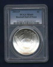 2014-P  $1 UNCIRCULATED SILVER COIN BASEBALL - HALL OF FAME, PCGS CERTIFIED MS69