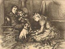 Thomas Nast, Christmas, Pug Dog, Children, Vintage 1881 Antique Art Print. CUTE