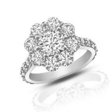 2.90 ct Round Cut Diamond Cluster Engagement Ring Best Buy on Ebay