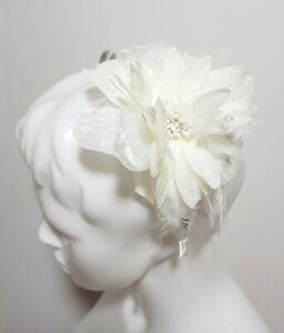 Neuf Claire's Femmes Cheveux Accessoire Métal Bandeau Blanc Fleur Paillette