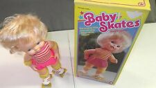 1982 Mattel Baby Skates Wind up Doll on Roller skates with original box