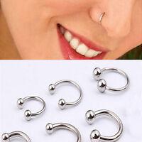 4PCS Stainless Steel Nose Hoop Ring Lip Earring Navel Ring Body Piercing Studs