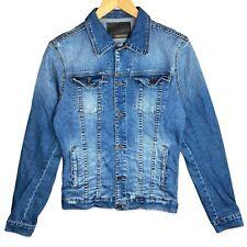 ZARA Denim Jacket Mens Y2K Medium Blue Wash Faded Distressed Trucker Jean Jacket