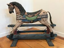 Wood/Plaster Rocking Horse, Vintage decor for kids room or hallway accent