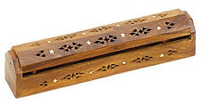 "Wooden Incense Coffin Box Burner - Incense Storage - Star 12""L"