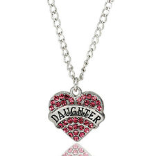 Pink Crystal Heart Necklace - Daughter