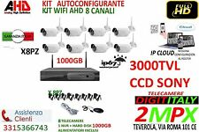 KIT VIDEOSORVEGLIANZA WIRELESS NVR CANALI 8 TELECAMERA WIRELESS+HARDDISK 1000GB