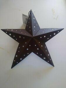 Rustic Primitive Tin Barn Star W/Star Cutouts 3D 8 IN Ornament Home Decor Crafts