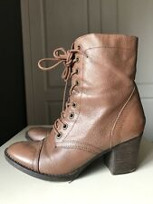 STEVE MADDEN Ladies Women Ankle High Heel Shoe Brown Leather Lace Boot Size 6 39