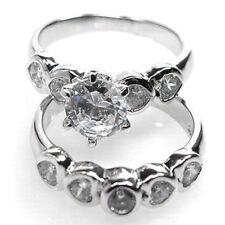 De Buman 5.90g Sterling Silver Cubic Zirconia Wedding Ring Set, Size 6.25