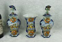 Set 3 Antique Delft polychrome pottery vases set farm landscape dutch decor mark