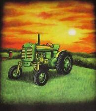 New Green Tractor at Sunset Scene Fleece Throw Gift Blanket Farmer Farm Truck