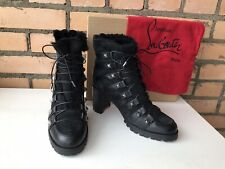 Christian Louboutin Chaletta 70 Black Leather Suede Shearling Ankle Boots 39
