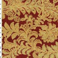 Red/Medallion Yellow Chenille Leaf Jacquard Decorating Fabric, Fabric By The