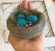 NEEDLE FELTING KIT BIRD NEST AND 3 EGGS WOOL NEEDLE TUTORIAL IN THE NEW  PACKAGE