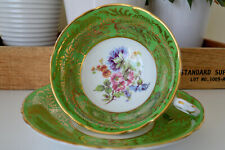 Rare Vintage Parago Fine Bone China Cup & Saucer Green Gold Flowers