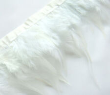 F201 PER 30cm-White Rooster Hackle Hen feather fringe Trim Fascinator Material